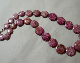 Purple Magnesite Graduated Necklace.
