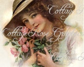 Large digital download Vintage 1912 magazine cover Victorian lady Roses  BUY 3 get one FREE