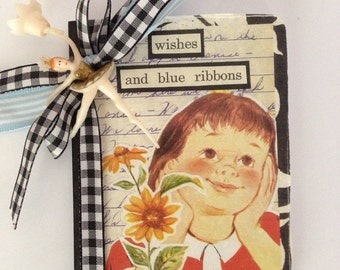 Mini Blue Ribbons composition book journal