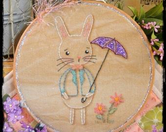 Showers & flowers bunny embroidery Pattern PDF - spring rain umbrella glitter hoop art sweet rabbit