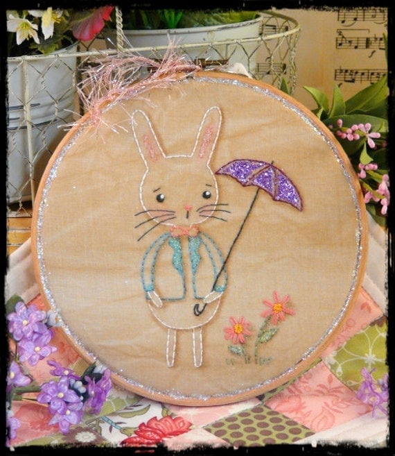Showers & flowers bunny embroidery Pattern PDF - spring rain umbrella glitter hoop art sweet rabbit