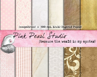 Digital Paper Pack Neapolitan Pink Brown White Shabby 12x12...Scrapbooking, Crafts and Cardmaking