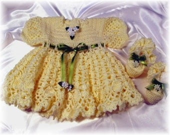 Crochet Pattern for Baby Girl Dress..........Yellow Rose Baby Dress with Booties