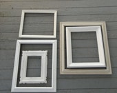 Vintage White Picture Frames Wedding Decor Photos French Country Farmhouse Pottery Barn Style Cottage Chic Shabby Set of 5