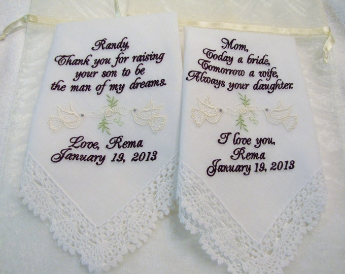 Mother of the Bride and Mother of the Groom Personalized Wedding Handkerchiefs