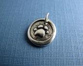 love tracks sterling silver animal paw print charm - engraveable