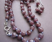 RESERVED FOR MEGAN - mauve lepidolite beads silk knotted necklace with matching earrings set