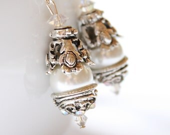 Romantic Vintage Wedding Pearl and Swarovski Rhinestone Earrings in Crystal AB