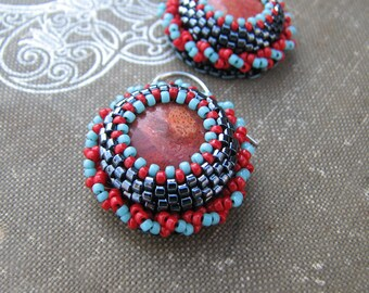 Coral Dangle Earrings Red Black and Blue Beads Sterling Silver