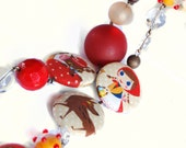 "Necklace Long Fairy Tailes n.2 - ""Red Riding Hood"" fabric covered buttons - Beaded necklace - Glass beads - beadwork - satin ribbon"