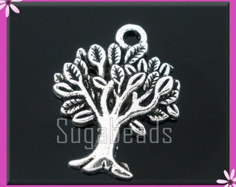 10 Antiqued Silver Tree Charms 22mm PS125