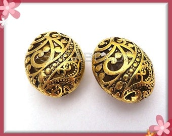 5 Big Filigree Hollow Oval Beads Antiqued Gold 22mm