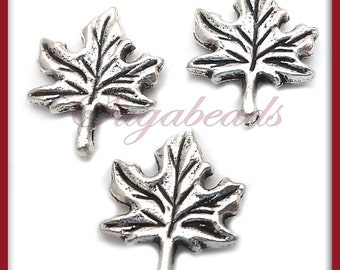10 Antiqued Silver Maple Leaf Charms 17mm x 13mm PS96