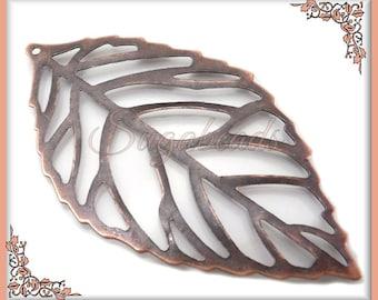 10 Antiqued Copper Leaf Pendants, Filigree Copper Leaves 54mm
