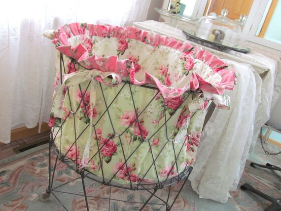 Vintage Wire Laundry Cart Basket Hamper Liner By