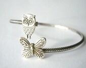 Butterfly bracelet wrap style with an owl, owl wrap