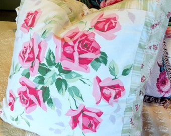 Vintage Porch Pillow Cover Wilendur Tablecloth Pink Roses - Shabby Chic and Cottage style
