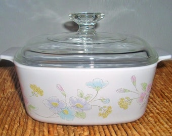 Pastel Bouquet 1.5 Liter (Qt) Corning Ware Covered Casserole