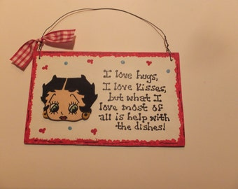 Betty Boop Kitchen Wall Hanging, I love Hugs, I love Kisses