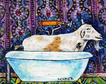 goat bathroom animal art tile coaster  JSCHMETZ modern abstract folk pop art AMERICAN ART gift
