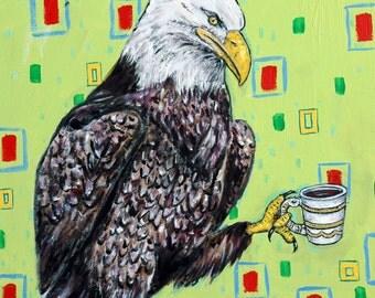 EAGLE bird art PRINT poster gift modern folk JSCHMETZ  coffee
