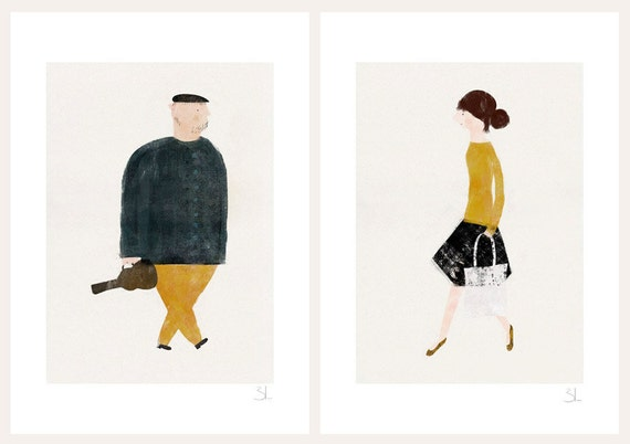 The violinist and the ballerina set of two prints