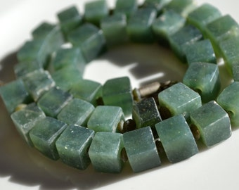Afghani Frosted Dark Green Jade 8-9mm cube Beads    6