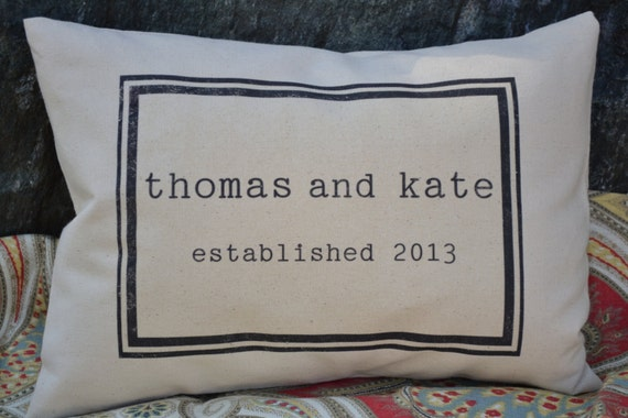 Personalized  pillow couples pillow wedding pillow - anniversary date- wedding date- custom pillow, Valentine idea