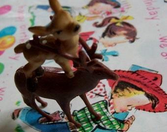 plastic buck deer figurine with tiny friend