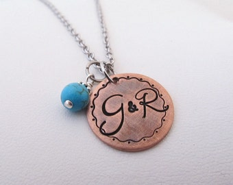 "Hand Stamped Jewelry -  Personalized Hand Stamped 3/4"" Copper Initial Monogram Necklace"