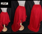 Choose Color and Size - High Low Skirt with ruffle by LoriAnn Costume Designs