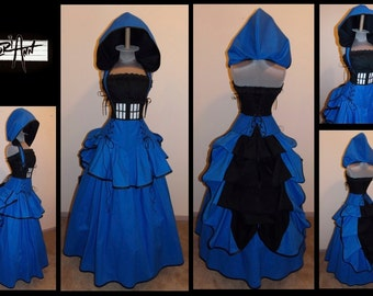 British Police Phone Public Call Box Under Bust Full Bustle Gown Costume - by LoriAnn Costume Designs