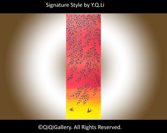 """Swallow painting red and yellow art 36"""" Palette Knife willow Tree Birds art canvas art wall art wall decor """"Flying Home""""by QiQiGallery"""