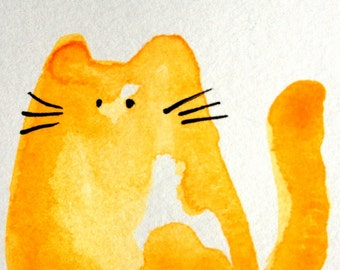Watercats (No90) - Original Miniature Watercolor Painting by bdbworld on Etsy - ACEO
