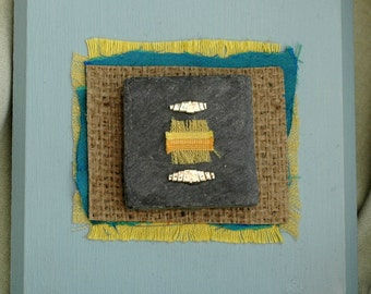 Wall art, yellow blue, mixed media art, recycled art, upcycled art