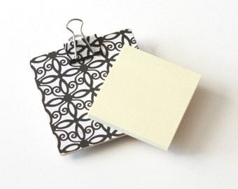 Magnetic Sticky Note Holder - Black and White Scrolls