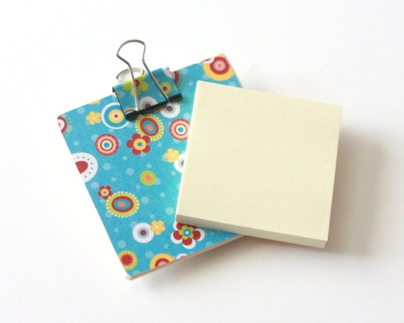 Magnetic Sticky Note Holder - Bright Flowers
