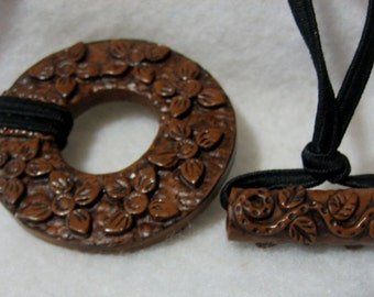 Dreadlocks Hair tie or Ponytail Holder for Dreads or Thick Hair or Sisterlocks Faux Wood Flowers