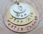 Hand Stamped Mom Necklace-  Personalized Names - Stacked Mixed Metals Necklace-  Custom Name Necklace -S115