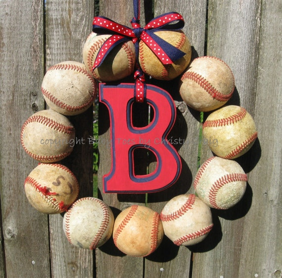 The Original Boston Red Sox Baseball Wreath - With Letter