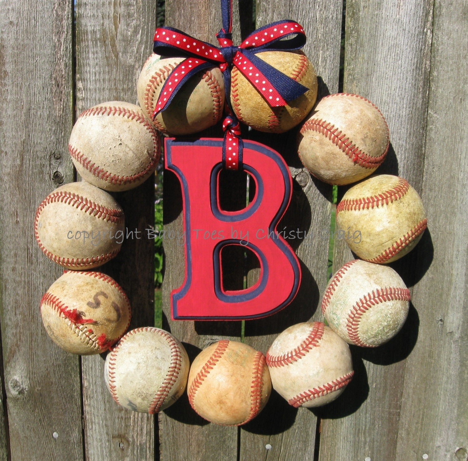 the original boston red sox baseball wreath with letter