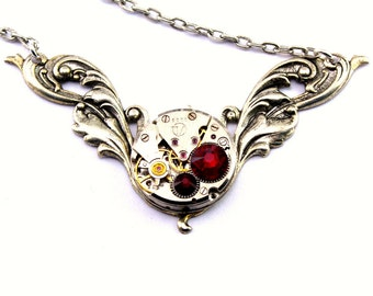 Ruby Red Steampunk Necklace July Birthstone Vintage Watch Movement Necklace Steam Punk Fashion designed by London Particulars