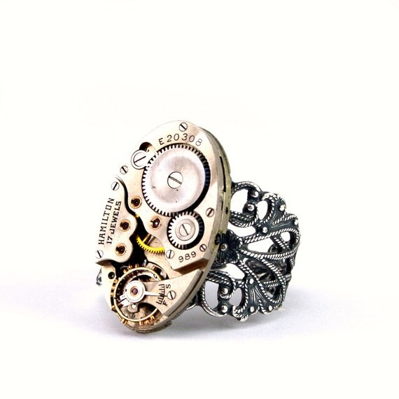 london particulars on etsy vintage watch upcycled into steampunk ring
