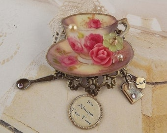 Rose Teacup Brooch, Filigree Brooch, Roses, Floral, Tea Cup Brooch, Tea Party Jewelry, Tea Time Brooch