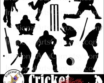 Cricket Players INSTANT DOWNLOAD 12 Png digital clipart graphics