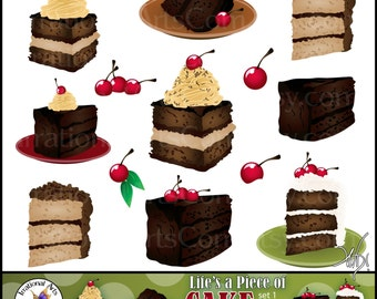 Life is a Piece of CAKE set 1 - digital clip art graphics of Chocolate Cake Slices with cherries {Instant Download}