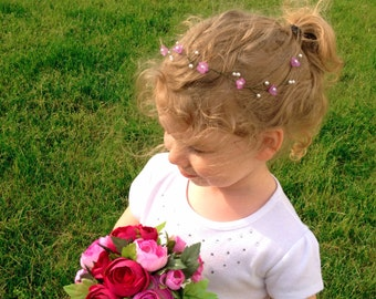 Wedding Hair Vine - Lavender Flowers and Swarovski Pearls - Wedding Hair Accessory