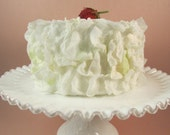 Fake Cake White Faux Flower Petal Cake with a Strawberry on Top Bridal Shower Decor Birthday Party Cake Display Cake