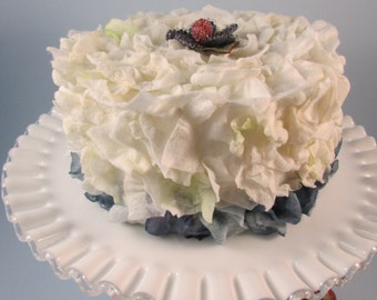 Fake Cake Birthday Cake Faux Flower Petal Cake White and Blueberry Display Cake Tea Party Decor Wedding Centerpiece