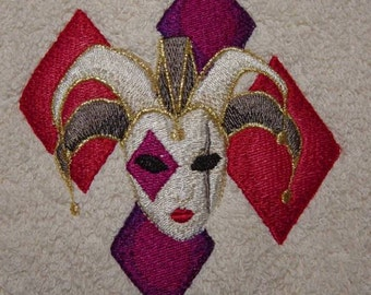 Mardi Gras Jester Harlequin Embroidered Terrycloth Hand Towel - FREE SHIPPING
